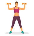 young woman doing exercise using dumbbell in a gym vector image