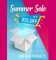 summer sale banner open box vector image
