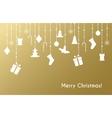 Christmas greeting card with christmas toys vector image