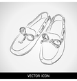 Silhouette of shoes on a gray background vector image