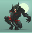 angry werewolf monster turning under full moon vector image vector image