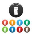 banana kiwi smoothie icons set color vector image