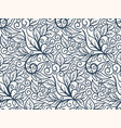 black and white seamless pattern with leaves vector image
