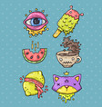 cartoon sticker set in 80s 90s comic trendy styl vector image