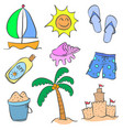 collection of summer holiday doodle style vector image vector image