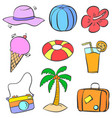 collection stock of summer object doodles vector image vector image