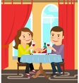 Couple sitting at table celebrating vector image