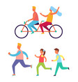 cycling couple jogging family vector image vector image