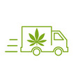 delivery cannabis of a delivery truck icon with vector image vector image