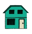 drawing green house home family residential vector image vector image