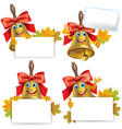 Funny school bell with blank banner vector image vector image