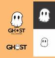 ghost white cute mascot spooky logo vector image