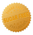 gold sugar free medal stamp vector image