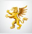 golden heraldic griffin emblem vector image vector image