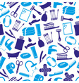 hygiene theme modern simple blue icons seamless vector image vector image