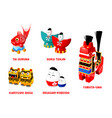 japanese folk toys set ii vector image vector image