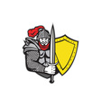 Knight Full Armor Open Visor Sword Shield Retro vector image vector image