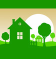 landscape with green cottages and trees vector image