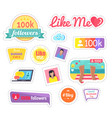 like me social networks laptop sticker vector image vector image