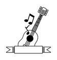 music guitar note ribbon vector image