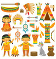 native american kids clip art set vector image vector image