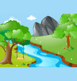 park scene with swing on the tree by the river vector image vector image