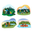 people camping in nature happy family hiking vector image vector image