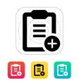 Plus clipboard icon vector image vector image
