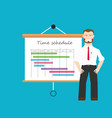 project manager with time schedule as background vector image vector image