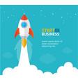 rocket ship startup concept banner flat design vector image vector image