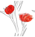 seamless pattern with drawing tulips vector image vector image