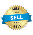 sell 3d gold badge with blue ribbon vector image vector image