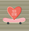 skateboard sport with heart love vector image vector image