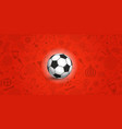 Soccer ball on red background of different soccer