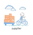 supplier supplier rides a bike with a cart of vector image vector image