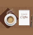 top view coffee cup on wood table business lunch vector image vector image