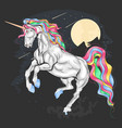 unicorn beautiful colour rainbow vector image vector image