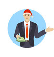 welcome businessman with money showing something vector image vector image