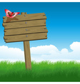 Wooden Sign on Green Grass vector image