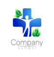 medical blue cross and green leaves - logo vector image