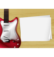 A red guitar with an empty piece of paper vector image vector image