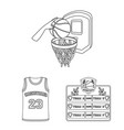 basketball and attributes outline icons in set vector image