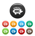 bbq steak icons set color vector image vector image