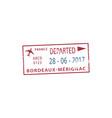 bordeaux-merignac airport departure visa stamp vector image vector image