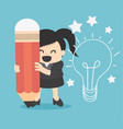 business woman writing idea and light bulb on wall vector image