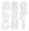 cartoon alphabet coloring book or page set for vector image