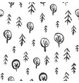 childish pattern with sketchy fir and oak forest vector image vector image
