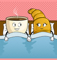 coffee and croissant in bed pop art vector image vector image