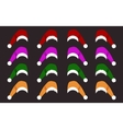 Collection of different santa hats vector image