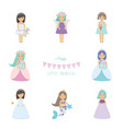 cute little girls princess mermaid angel fairy vector image vector image